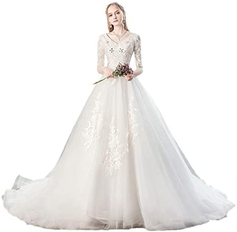 Schwangere Frauen Hochzeit 2019 New Tail High Waist Cover schwangeren Bauch Large Size Französisch Retro Brautkleid (Größe : XXXL)
