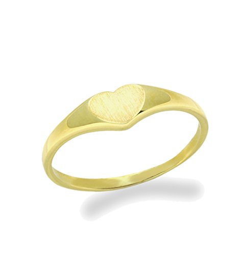 Double Accent 14K Gold Ring Plain Heart Yellow Gold Ring Size 2 To 5