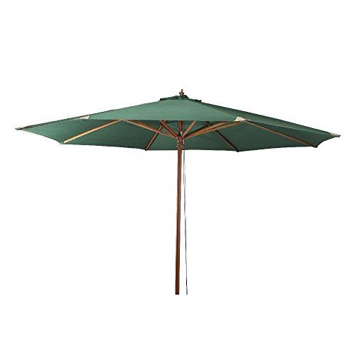 Siena Garden Sonnenschirm, Holzgestell Teakoptik, Durchmesser 350 cm, Bezug Polyester grün