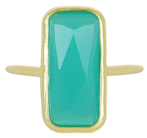 Amazonite 18k Gold Clad Fancy Cut Wholesale Gemstone Jewelry Rectangle Ring (Size 8)
