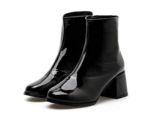 Las Mujeres 6Cm Grueso Talón Redondo Dedo del Pie Brillante Botines Martin Botas De Vestir Botas De Fiesta Zapatos De La UE...