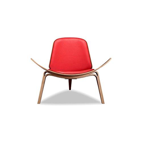 Kardiel Tripod Plywood Modern Lounge Chair, Red Italian Leather/Walnut