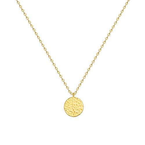 (LOYATA Full Moon Pendant Necklace, 14K Gold Plated Moon Necklace Hammered Full Moon Round Disc Coin Pendant Necklace for Women Girls (Full Moon Gold))