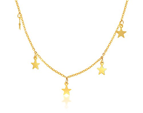 Mealguet Jewelry Delicate Gold Plated Stainless Steel Mini Charm Dangle Star Choker Necklace,Dainty Boho Layering Necklace Minimalist