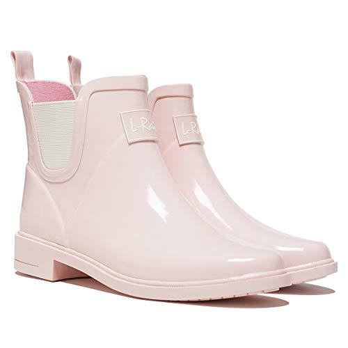 LR L-Rain Women's Short Rain Boots Waterproof and Anti-Slipping Rain Shoes Chelsea Booties, Pink, (US) 8-(EUR) 38