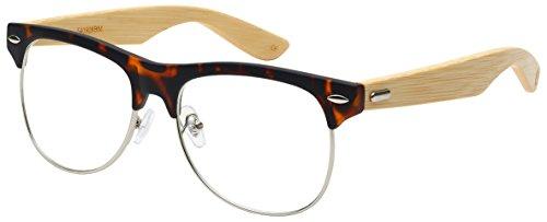 Edge I-Wear Semi-Rimless Bamboo Clear UV Lens Sunglasses by