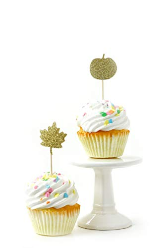 CLOSEOUT 24 pc. Pumpkin and Leaf Gold Glitter Cupcake Toothpick Toppers