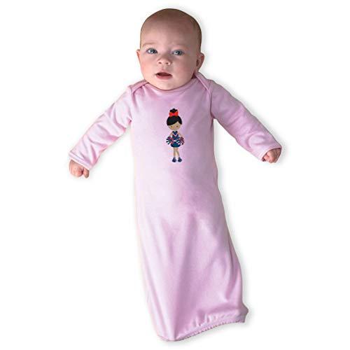 - Cheerleader Two Hands Down Black B Long Sleeve Envelope Neck Boys-Girls Cotton Newborn Sleeping Gown One Piece - Soft Pink, Gown & Hat Set