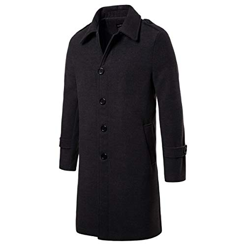 AOWOFS Men's Mid Long Wool Woolen Pea Coat Single Breasted Overcoat Winter Trench Coat Dark Grey