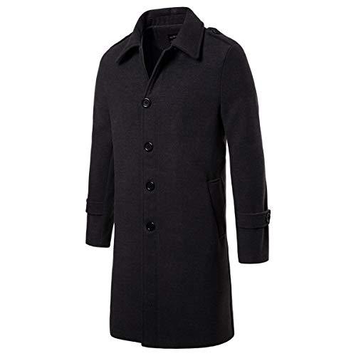 AOWOFS Men's Mid Long Wool Woolen Pea Coat Single Breasted Overcoat Winter Trench Coat Dark Grey