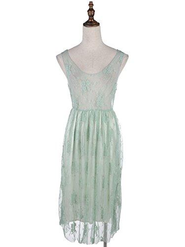 1920 due maniche pizzi del cover pezzi donne vestito all'uncinetto Verde increspato fiore maglia a a up Kaci d'epoca Gastby Anna TI8awa