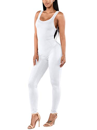 (Alaroo Womens Jumpsuits and Romper Comfy Tank Bodysuit Solid Color Fashion Outfit White)