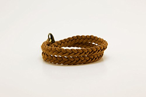 Choker Leather Bracelet (LoilJ Essential Oil Diffusing Braided Choker or Double Wrap Bracelet - BW Cedar Brown)