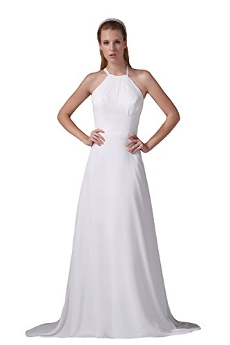 Bridal_Mall - Vestido - Sin mangas - para mujer blanco