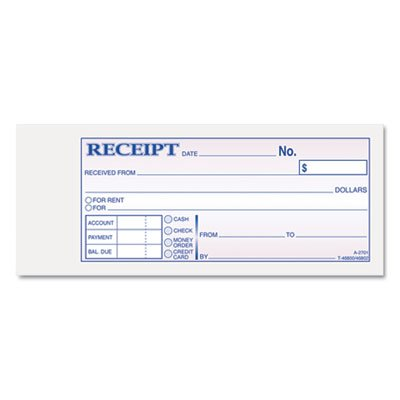 Amazon.com : Receipt Book, 2 3/4 x 7 3/16, Three-Part Carbonless ...