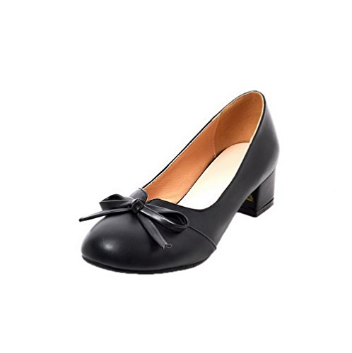 36 Solid Round Women's Odomolor Low Shoes Black On Pumps Pull Toe Heels PU w17q5Cq