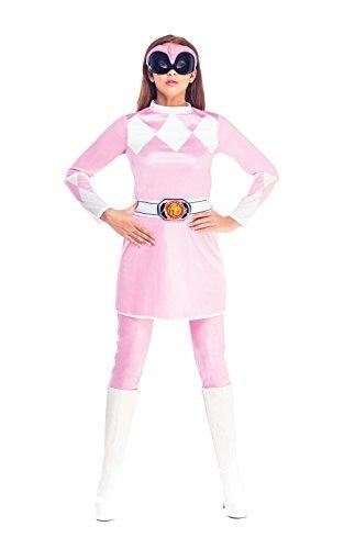 Rubie's Official Pink Power Ranger Fancy Dress Ladies Superhero Rangers (Power Rangers Costume Uk)