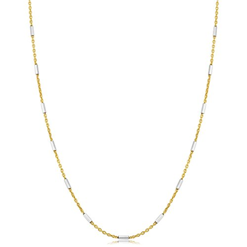 Kooljewelry Sterling Silver Bar Station Yellow Gold Plated Rolo Chain Necklace (1.2 mm, 20 inch)