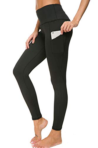 Bamans High Waist Out Pocket Yoga Pants, Workout Running Leggings for Women, 4 Way Stretch Sport Skinny Yoga Leggings, Black XL