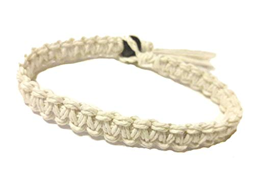 (White Surfer Hawaiian Style Hemp Bracelet - Handmade)