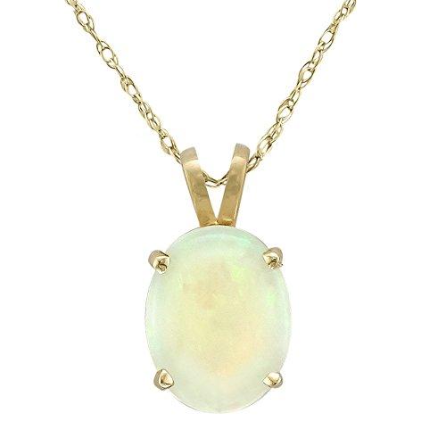 14 Karat Yellow Gold 9x7 Millimeter Oval Opal Necklace