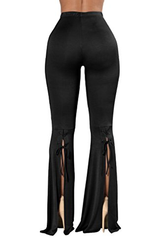 COCOLEGGINGS Women's Juniors Lace Up Palazzo Bell Bottom Pants Black (Flare Pant)
