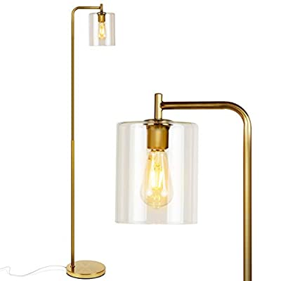 Brightech- Elizabeth Edison Floor Lamp for Living Room & Bedroom- Standing Industrial Light with Hanging Glass Lamp Shade - Vintage Tall Pole Downlight for Office - with LED Bulb - Brass Gold Color - UPRIGHT LAMP FOR CONTEMPORARY DECOR: The Elizabeth LED Floor Lamp has a minimalist design and fits perfectly in any room from mid century modern to traditional décor. It comes in elegant brass and bronze finishes, both of which pair perfectly with the warm tone of the warm white LED light the bulb emits. The glass shade provides extra elegance and an added touch of modernity. ALEXA & GOOGLE HOME COMPATIBLE WARM READING LIGHT FOR HOME OR OFFICE: Works with smart outlets that are Alexa, Google Home Assistant, or Apple HomeKit enabled, to turn on/off. (Requires smart outlet sold separately.) The Elizabeth Lamp gives off warm, cozy light that creates a comfortable space beside your book chair, a great alternative to unpleasant overhead lights. FITS EASILY NEXT TO A SIDE TABLE, BED, DESK, OR COUCH: This lamp is lightweight, weighs only 14 pounds, and reaches about five and a half feet tall, so that it is easy to move around to where light is needed most in your room. Its slender design makes it easy to place near love seats, sofas, armchairs, side tables, and desks. The lamp has a weighted base that prevents tipping, and the convenient to use on/off pedal switch allows you to easily tap the lamp on or off with your foot. - living-room-decor, living-room, floor-lamps - 31pc0oM3cAL. SS400  -