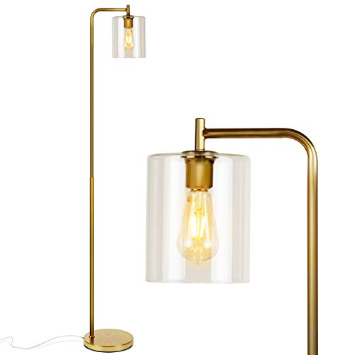 Brightech - Elizabeth LED Floor Lamp for Living Room & Bedroom - Standing Industrial Light with Hanging Glass Lamp Shade - Tall Pole Downlight for Office - with LED Bulb - Brass Gold Color