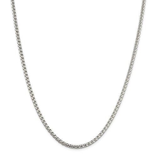 Jewelryweb Sterling Silver Box - Sterling Silver 3.6mm Round Box Chain Necklace - 36 Inch