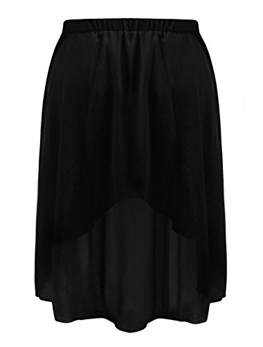 Allegra K Ladies Elastic Waist Asymmetric Hem Long Skirt Black 3X