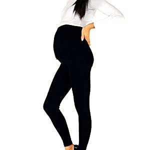 Maternity Trousers Non-transparent Comfortable Casual gh Waist Pregnant Women Leggings Breathable Pencil Pants Spring Tight Adjustable Buckle Soft Solid Slim(MBlack)