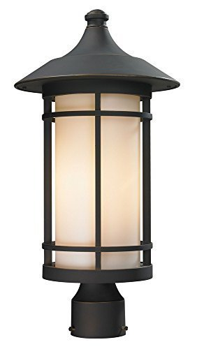 Z-Lite 528PHB-ORB Outdoor Post Light with Oil Rubbed Bronze Finish Aluminum Frame, Matte Opal by Z-Lite by Z-Lite