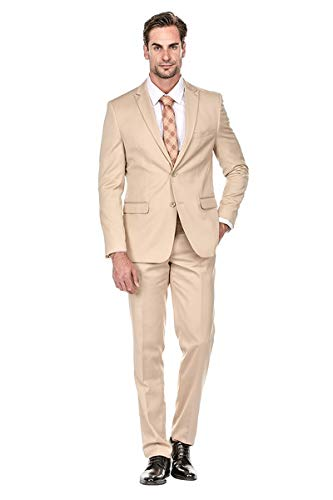 Milano Vichee Men's Khaki, Champaign,Beige,Slim Fit Men's Suit 2Pcs Set(Coat +Pant)