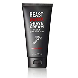 Beast Butter Whole Body Shave Cream – Organic Aloe, Gentle Oats, Ginseng, Vitamins – Super Smooth Slick Foamless – Shaving Lotion Face Head Body Butt Balls Legs Mens Womens – Tame the Beast (6 oz)