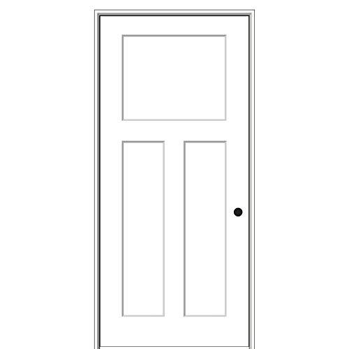 National Door Company ZZ09485L Solid Core Molded Craftsman 3-Panel, Left Hand Prehung Interior Door,30