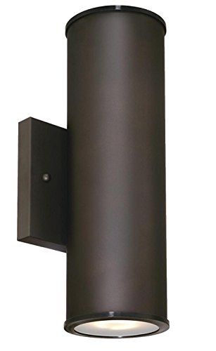 Two-Light LED Up and Down Light Outdoor Wall Fixture with Frosted Glass Lens, Oil Rubbed Bronze For Sale