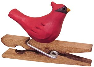 Cardinal Perched On Clothespin Clip Ornament Country Primitive Christmas Holiday Décor