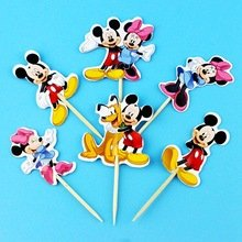 Disney Minnie Mickey Mouse Dessert Cupcake Toppers Baby Shower Birthday Party Picks (Pack of 24)]()