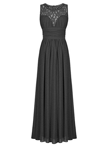 TalinaDress Sheer Neck Chiffon Dark Lace Dress E285LF Prom Gray Gown Womens Long Bridesmaid rfTqUr
