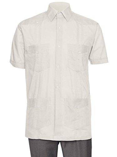 (Gentlemens Collection Short Sleeve Guayabera Shirt - for Men Cuban Beige Large)