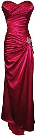 Strapless Long Satin Bandage Gown Bridesmaid Dress Prom