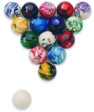 Epco Premium Quality, American Made, Marbleized Glo Regulation Billiard or Pool Set, with 5.75oz, 2.25
