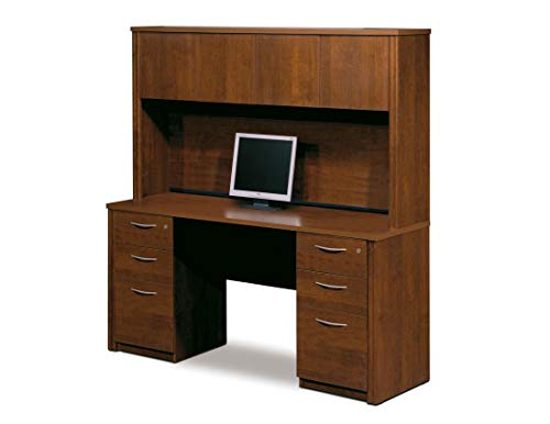 Bestar Credenza Desk with Two Assembled pedestals and Hutch - Embassy