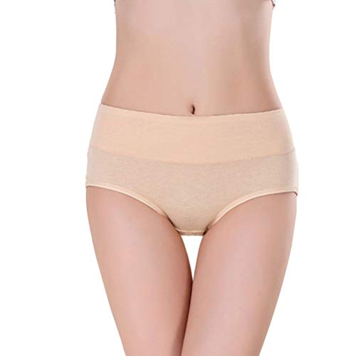(Annyison Women's Cotton Underwear Pack, Soft Stretch Mid Waist Breathable Solid Color Briefs Panties for Women (One Pack in Flesh Color, Small))