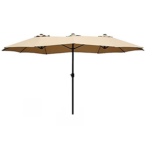 HERMO 1412 Oval 14 Ft Outdoor Patio 12 Ribs Double-Sided Table Umbrella, Beige