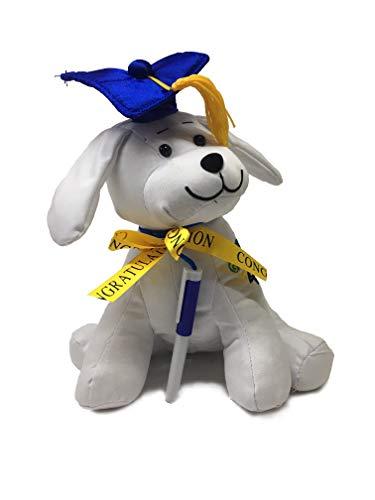 Sweet Online Deal Graduation Sitting Doggie Autograph Stuffed Dog with Pen, Blue Hat - Congrats Grad! 10.5