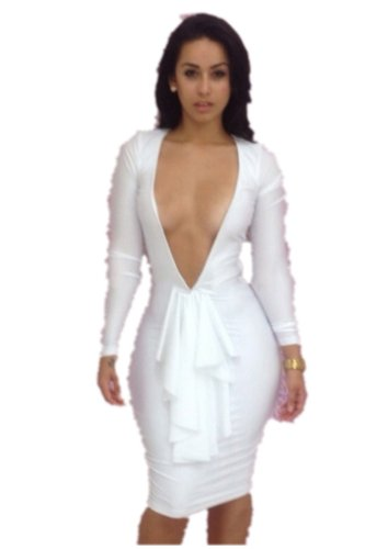 Women's Front V Exposed Sexy Club Party Sheath Romper Dress (WHITE, ASIA M)