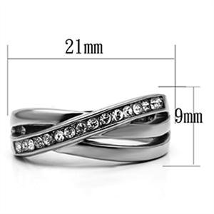 Bypass Channel Setting Crystal Stainless Steel Ring