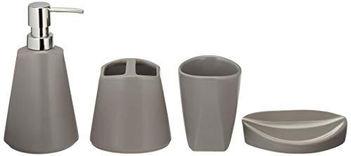 (AmazonBasics 4-Piece Ceramic Bathroom Accessory Set -)