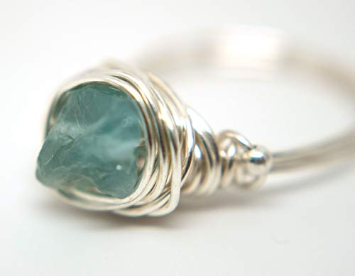 Designer's Freeform Rough Apatite on Silver Wire - Wire Wrapped Ring Silver with Rough Apatite Gemstone and Silver Spacer Beads ()